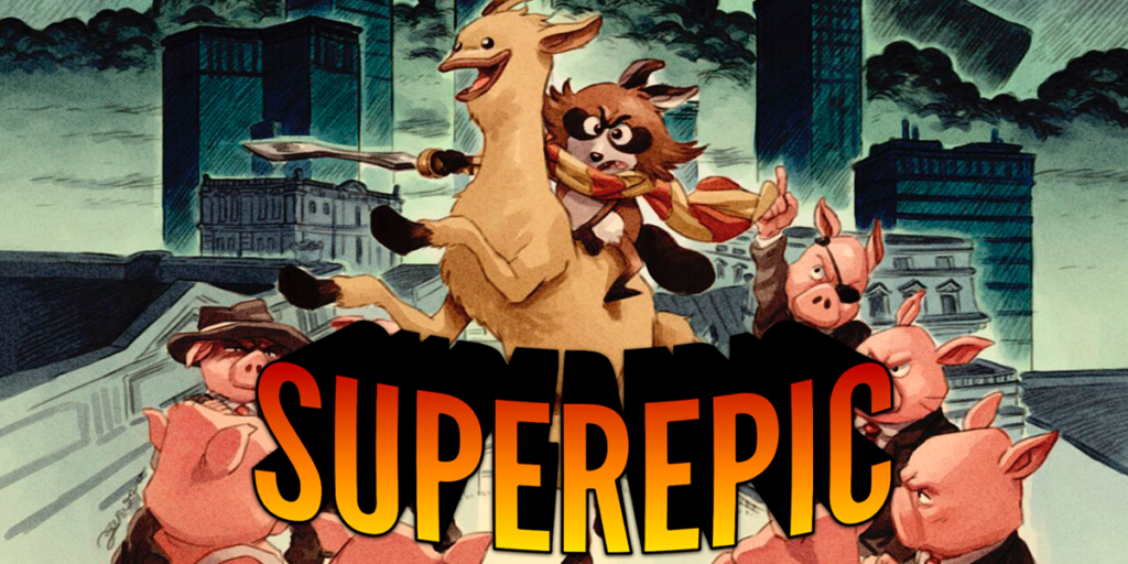 How SuperEpic: The Entertainment War Combines Satire, Pigs, and Solid Gameplay Title Screen