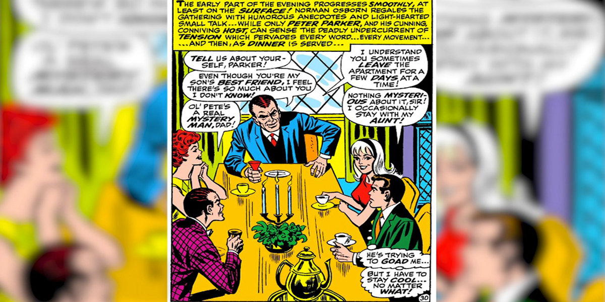 The Best Comic Book Panels Recreated in Spider-Man Movies - The Dinner Scene (Comic Version)