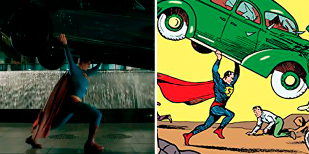 The Best Comic Book Panels Recreated in DC Movies - Action Comics Car Lift